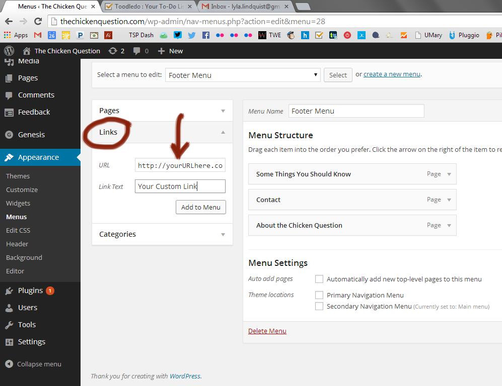 add custom links to wordpress menu