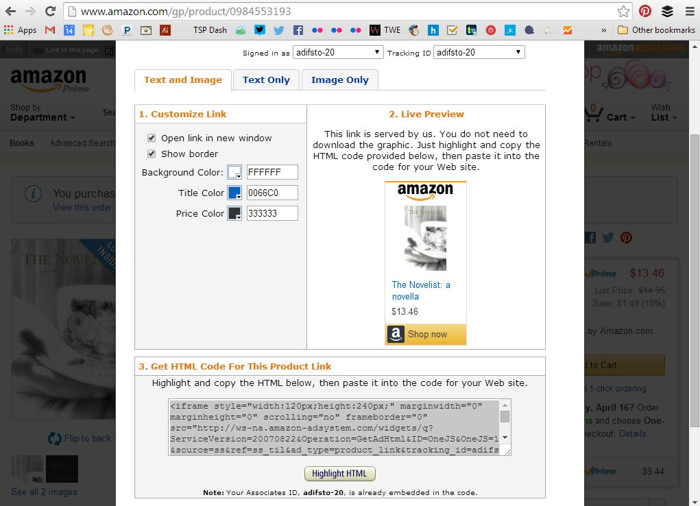 amazon affiliates text and image link