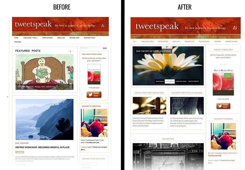 Tweetspeak Poetry website before and after